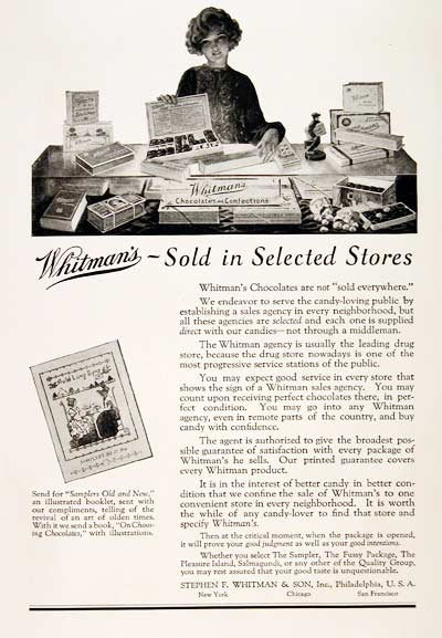 Whitman Chocolate Candy advertisement (1925)